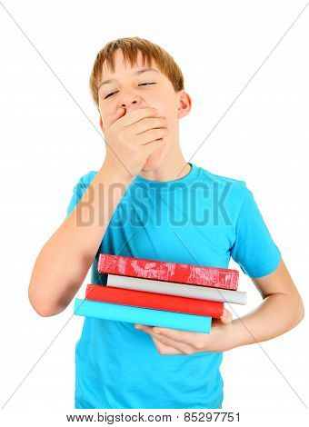 Tired Kid With A Books