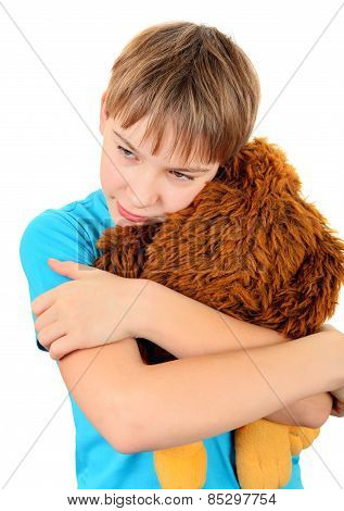 Sad Kid With A Plush Toy