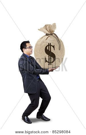 Male Worker Holds Money Bag