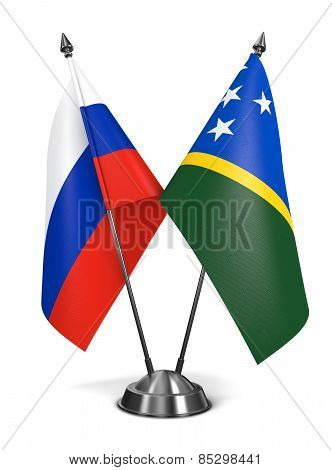 Russia and Solomon Islands - Miniature Flags.
