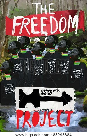 Freedom Poster Paint Collage Modern Art