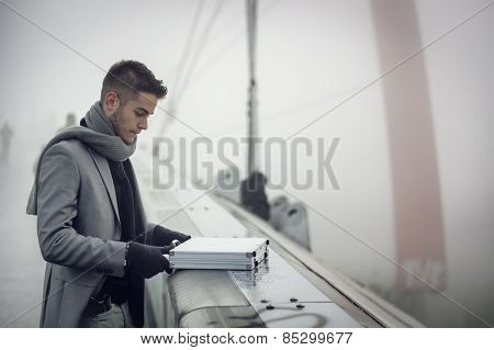 Stylish Elegant Businessman Opening A Briefcase