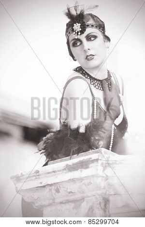 Portrait Of The Beautiful Retro Woman 1920S - 1930S