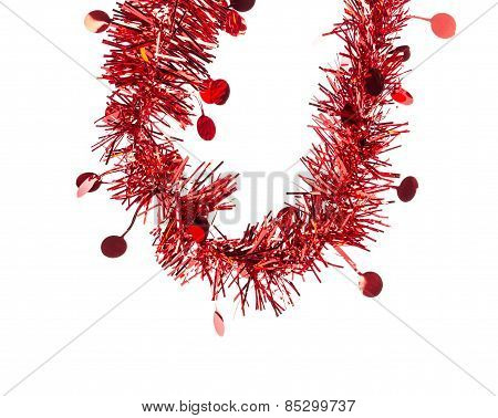 Christmas red tinsel