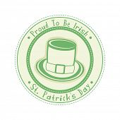 foto of leprechaun hat  - Green rubber stamp with leprechauns hat on white background for Happy St - JPG