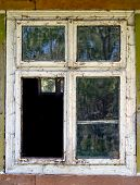 stock photo of dirty  - old dirty window on old dirty wall - JPG