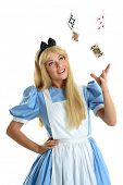 picture of alice wonderland  - Beautiful young woman dressed in costume throwing playing cards into the air isolated over white background - JPG