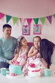 pic of 6 year old  - Family celebrating birthday princess party of two 6 years old children - JPG