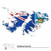 image of falklands  - Map of Falkland Islands with flag  - JPG