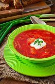 picture of lenten  - Traditional Ukrainian Russian vegetable borscht soup on the old wooden background - JPG
