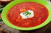 foto of lenten  - Traditional Ukrainian Russian vegetable borscht soup on the old wooden background - JPG