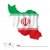 stock photo of tehran  - Map of Iran with flag  - JPG