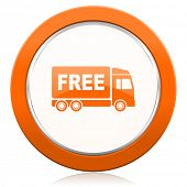 stock photo of free-trade  - free delivery orange icon transport sign  - JPG