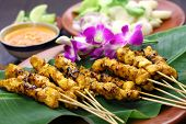 stock photo of malaysian food  - chicken satay - JPG