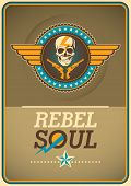 stock photo of rebel  - Rebel poster with coat of arms - JPG