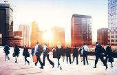 foto of commutator  - Commuter Business People Corporate Cityscape Walking Travel Concept - JPG
