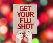 stock photo of flu shot  - Get Your Flu Shot card with bokeh background - JPG