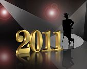 stock photo of new years celebration  - 3D illustration for New years eve 2011 greeting card or party invitation with gold numbers and silhouetted well dressed gentleman in spotlight - JPG