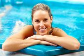 picture of hot-tub  - Young woman relaxing in hot tub - JPG