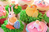 picture of easter eggs bunny  - Easter bunny cupcakes with Easter eggs and a chick made of fondant - JPG