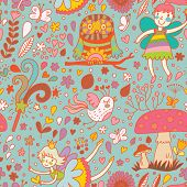 picture of fairy-mushroom  - Lovely childish seamless pattern with fairies - JPG