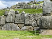picture of andes  - Sacsayhuaman Incas ruins in the peruvian Andes at Cuzco Peru - JPG