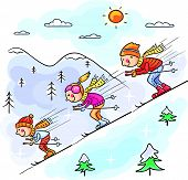 foto of family ski vacation  - Family skiing in the mountains together - JPG