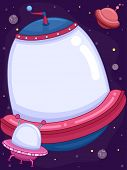 picture of spaceships  - Frame Illustration of a Small Spaceship Cruising Along a Bigger One - JPG