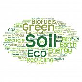 image of environment-friendly  - Concept or conceptual abstract green ecology and conservation word cloud text on white background - JPG