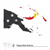 foto of papua new guinea  - Map of Papua New Guinea with flag  - JPG