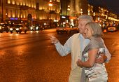 pic of copulation  - Portrait of amusing old couple on night street - JPG