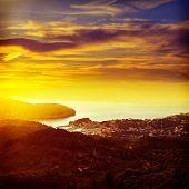 stock photo of nightfall  - Port de Soller sunset in Majorca at Balearic island of Mallorca Spain - JPG
