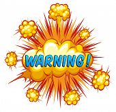 picture of slang  - Word warning with cloud explosion background - JPG