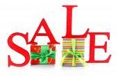 foto of year end sale  - Sale with gifts isolated on white - JPG