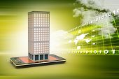 stock photo of smart grid  - smart phone with real estate concept in attractive color background - JPG