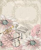 stock photo of trumpet flower  - Retro background - JPG