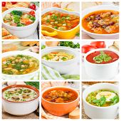 picture of vegetable soup  - Collage of different soups with vegetables and meat - JPG