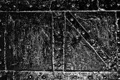 stock photo of blacksmith shop  - Black and white image of a portion of an old wrought chest - JPG