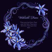 foto of purple iris  - Watercolor floral frame like wreath of purple iris flowers - JPG