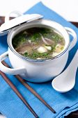 stock photo of bean sprouts  - chicken pho soup with noodles bean sprouts and cilantro and vegetables - JPG