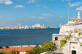 pic of el morro castle  - The skyline of Havana with El Morro castle on the foreground - JPG