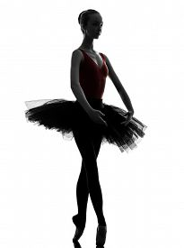 picture of  dancer  - one  young woman ballerina ballet dancer dancing with tutu in silhouette studio on white background - JPG