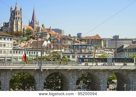 Lausanne Cathedral View Over The Bridge In Summer