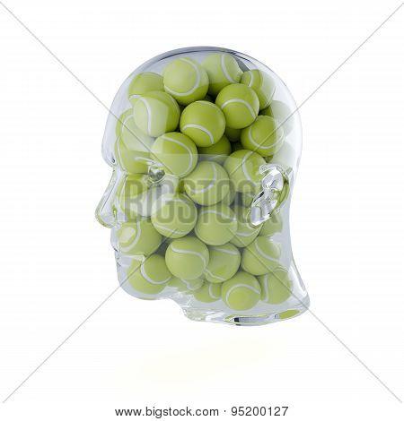 Glass Transparent Human Head Filled With Tennis Balls