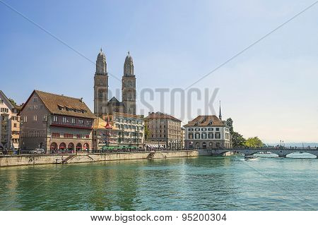 Zurich City Center And Quay Of Limmat In Summer