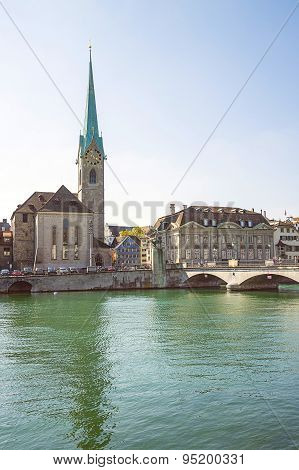 Zurich City Center Skyline And Limmat Quay In Summertime