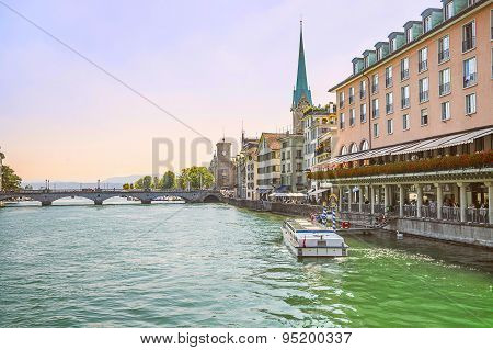 Zurich City Center Skyline And Limmat Quay, Switzerland