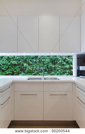 Residential Contemporary Kitchen Sink With Low Window Showing A Green Hedge