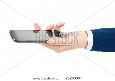 Woman Hand Holding And Touching A Mobile Phone Screen With Her Thumb On A White Isolated Background