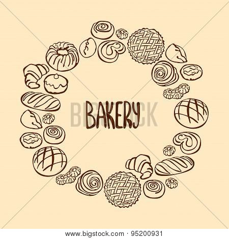 Bake bakery. Baking in form of a circle. Round frame.